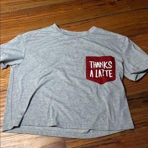 "Shein gray ""Thanks A Latte"" crop T-shirt small"